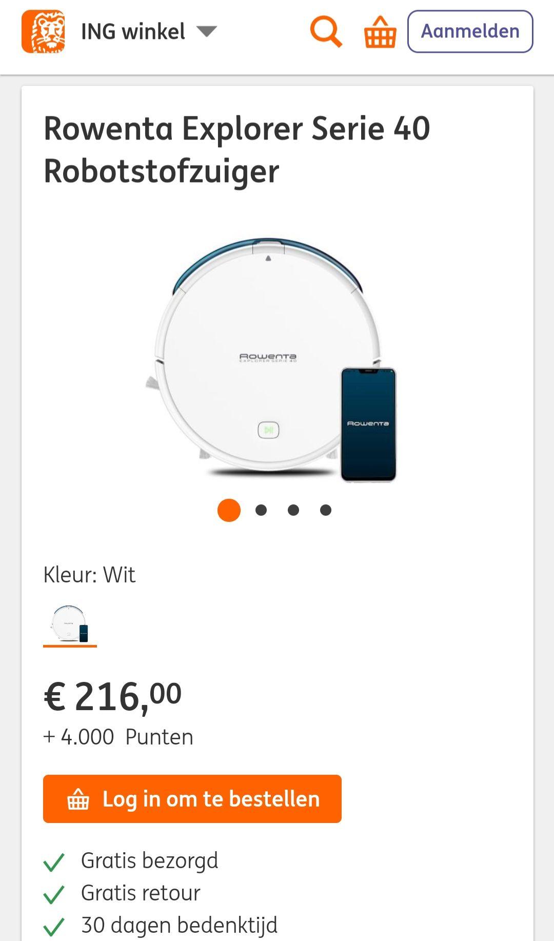 Rowenta Explorer Serie 40 Robotstofzuiger €216,- + 4000 rentepunten