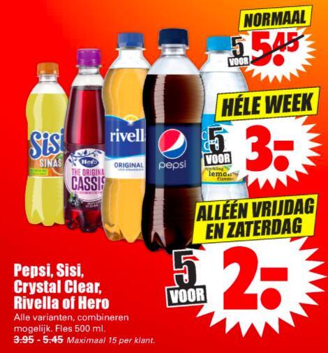 Weekenddeal: Pepsi, Sisi, Crystal Clear, Rivella of Hero 5 voor €2,- @Dirk