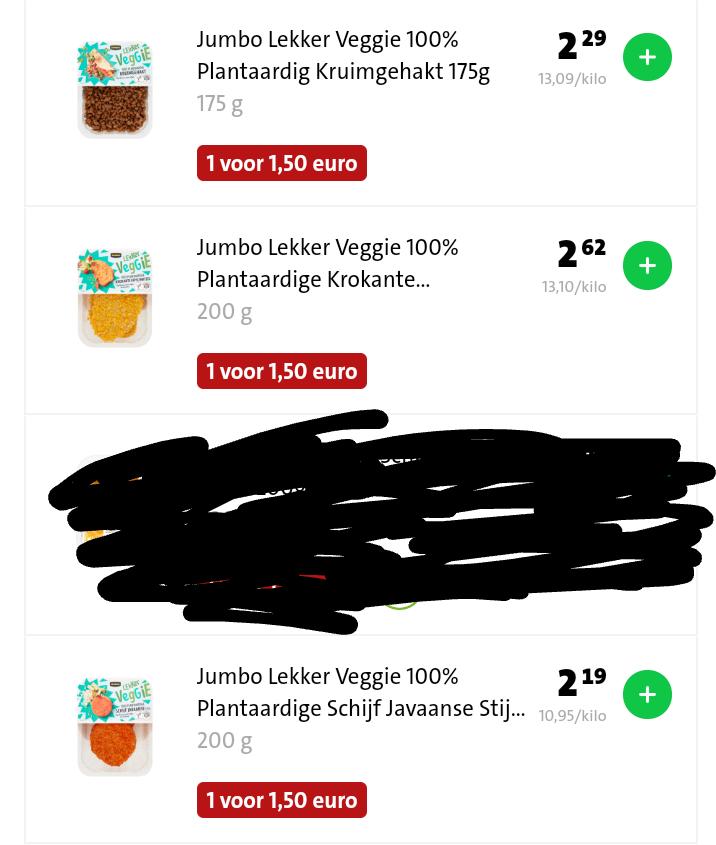 Vegan alert: seizoensaanbieding Jumbo. Kruimgehakt, Krokante Kipschnitzel of Plantaardige Schijf Javaanse Stijl voor €1,50