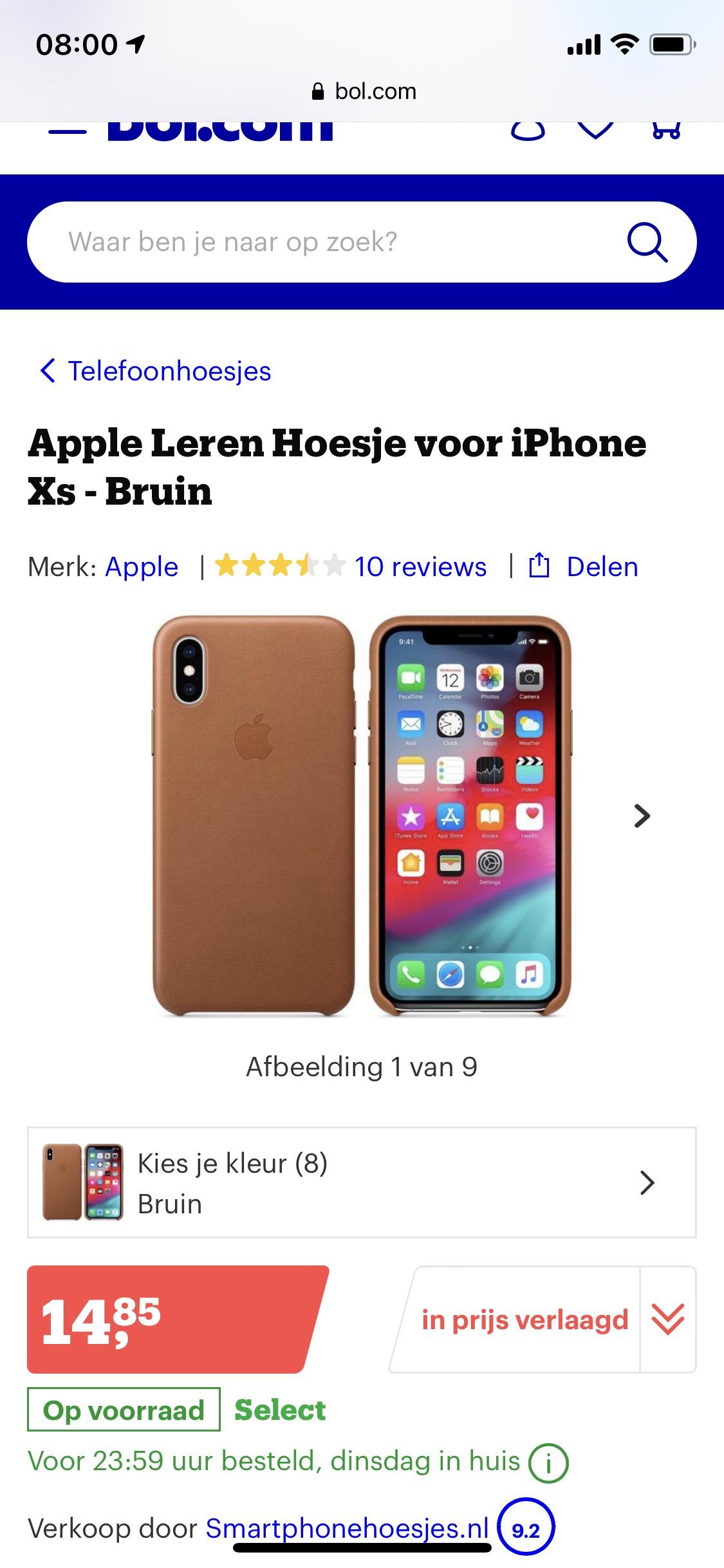 Apple iPhone XS case leder bruin(+blauw) €14,85 @ Bol.com