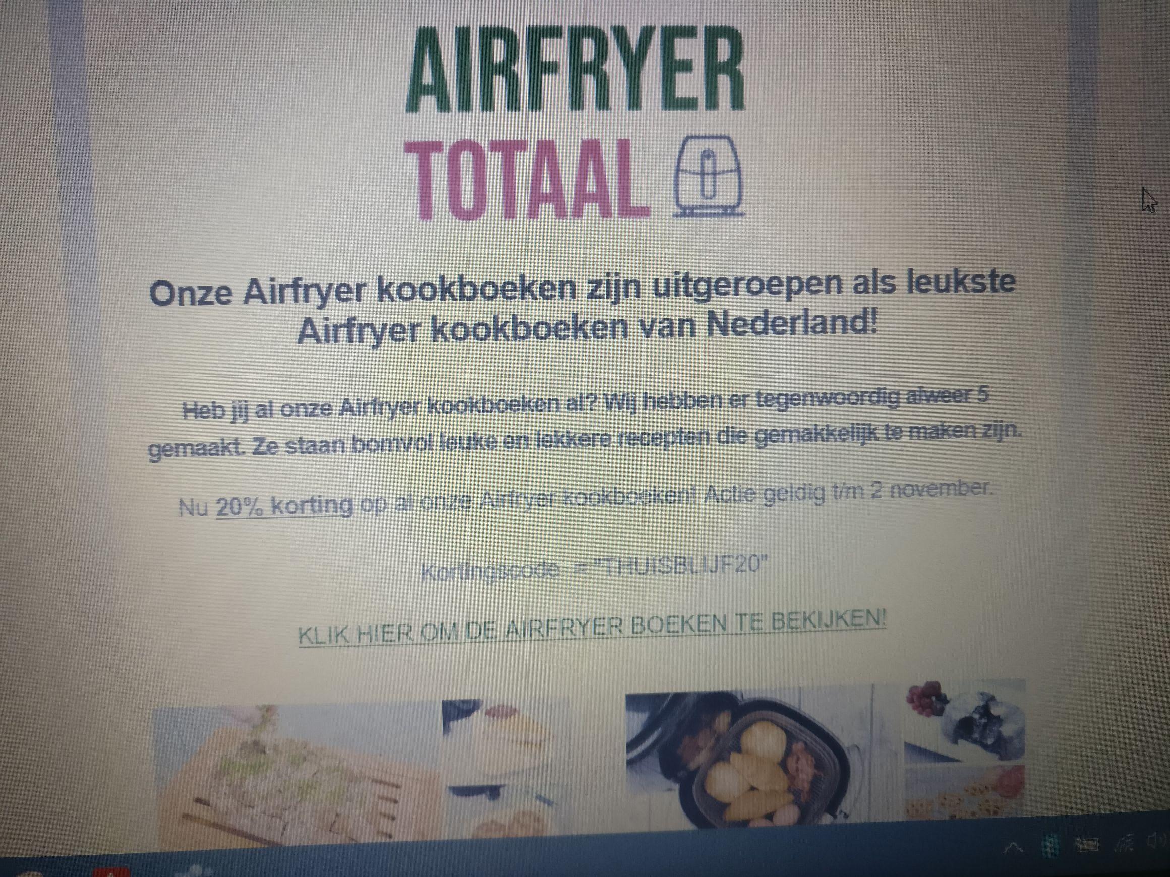 20% korting op airfryer boeken