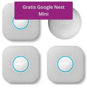 Google Nest Protect Batterij 3-pack + Gratis Google Nest Mini