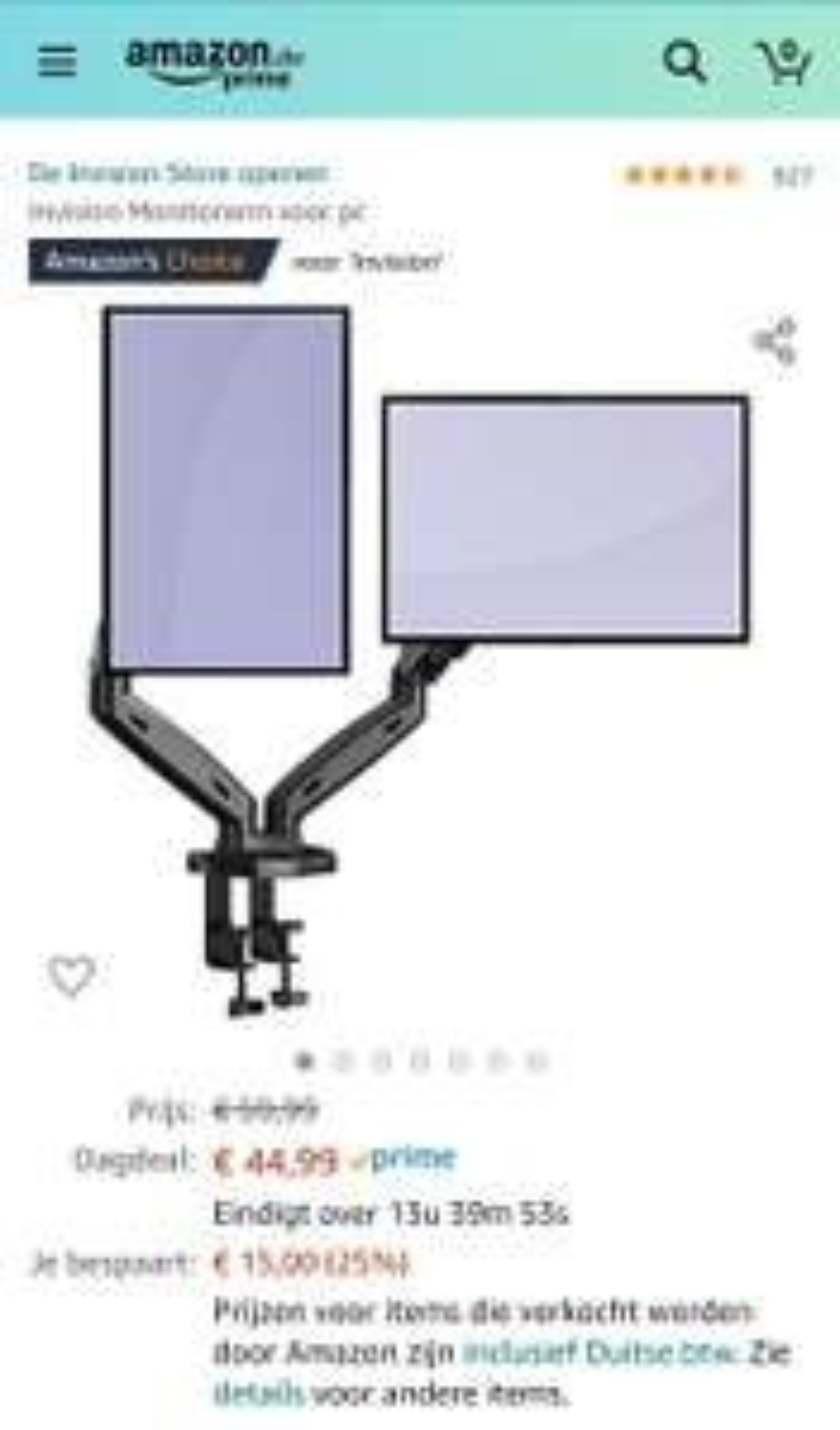Invision Dubbele Monitor Arm