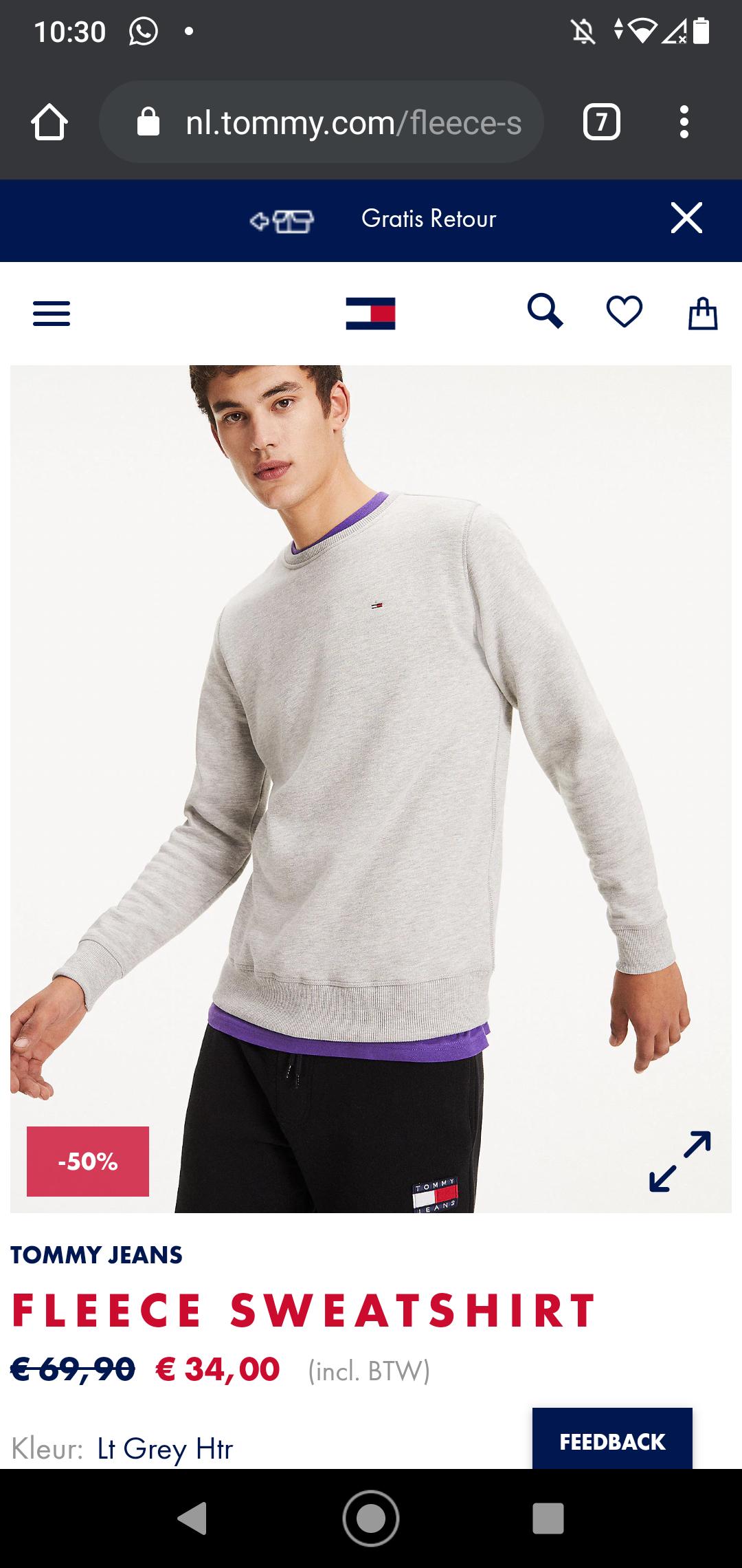 Tommy fleece sweatshirt heren sweater