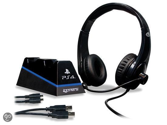 4Gamers Stereo Gaming Headset + 2 USB Oplaadkabels + Design Controller Standaard PS4 voor €24,99