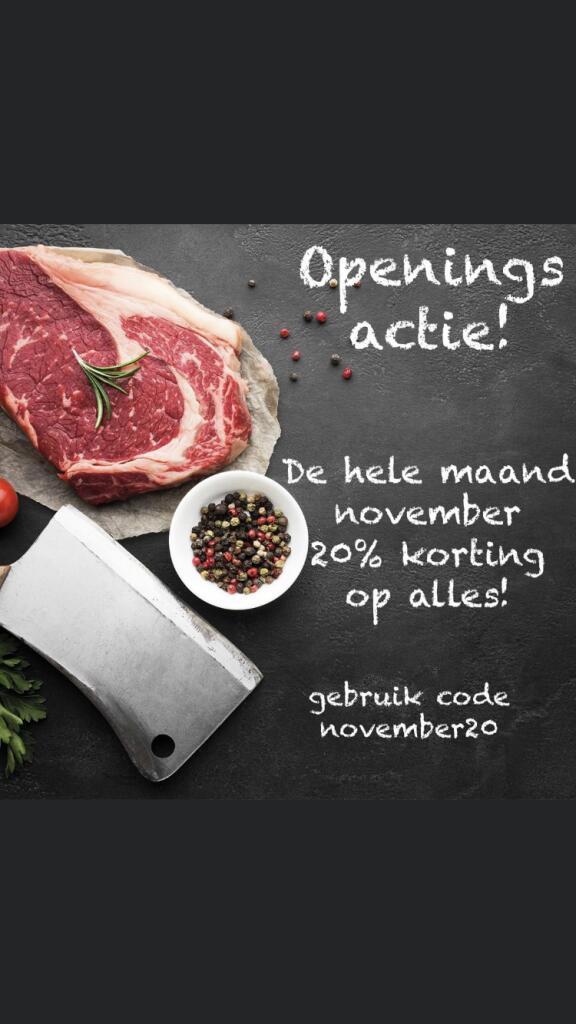 20% op al het vlees @Meat-vlees