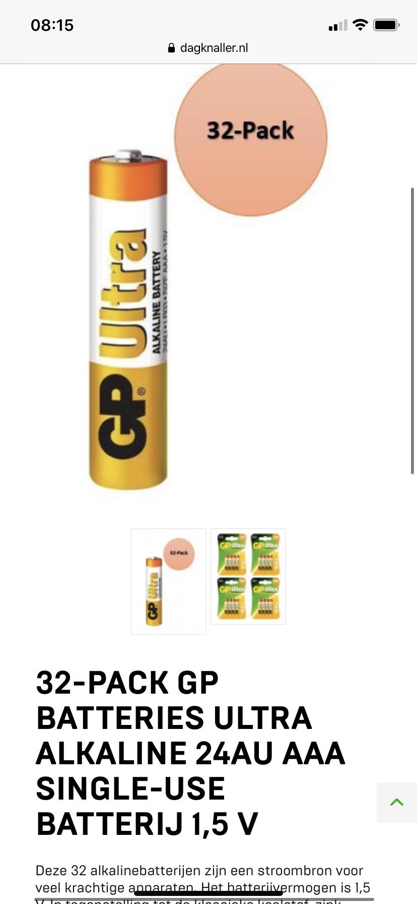 32-pack Gp Batteries Ultra Alkaline 24au Aaa Single-use Batterij 1,5 V
