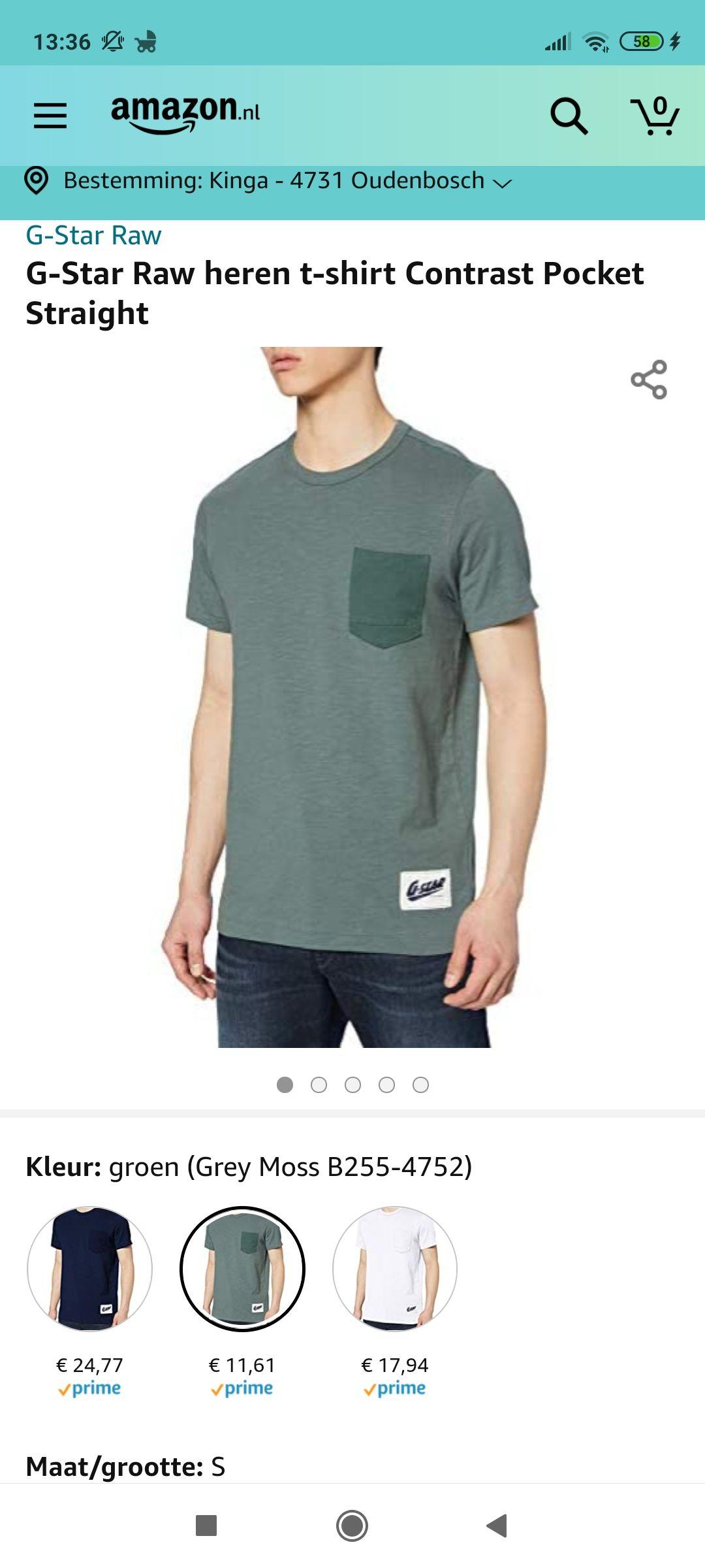 Amazon.nl G-Star Raw heren t-shirt Contrast Pocket Straight