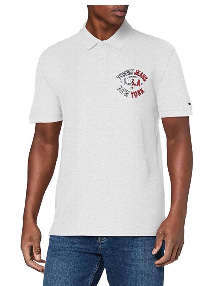 Tommy Jeans Essentials Logo heren polo grijs voor €17,68 @ Amazon.nl