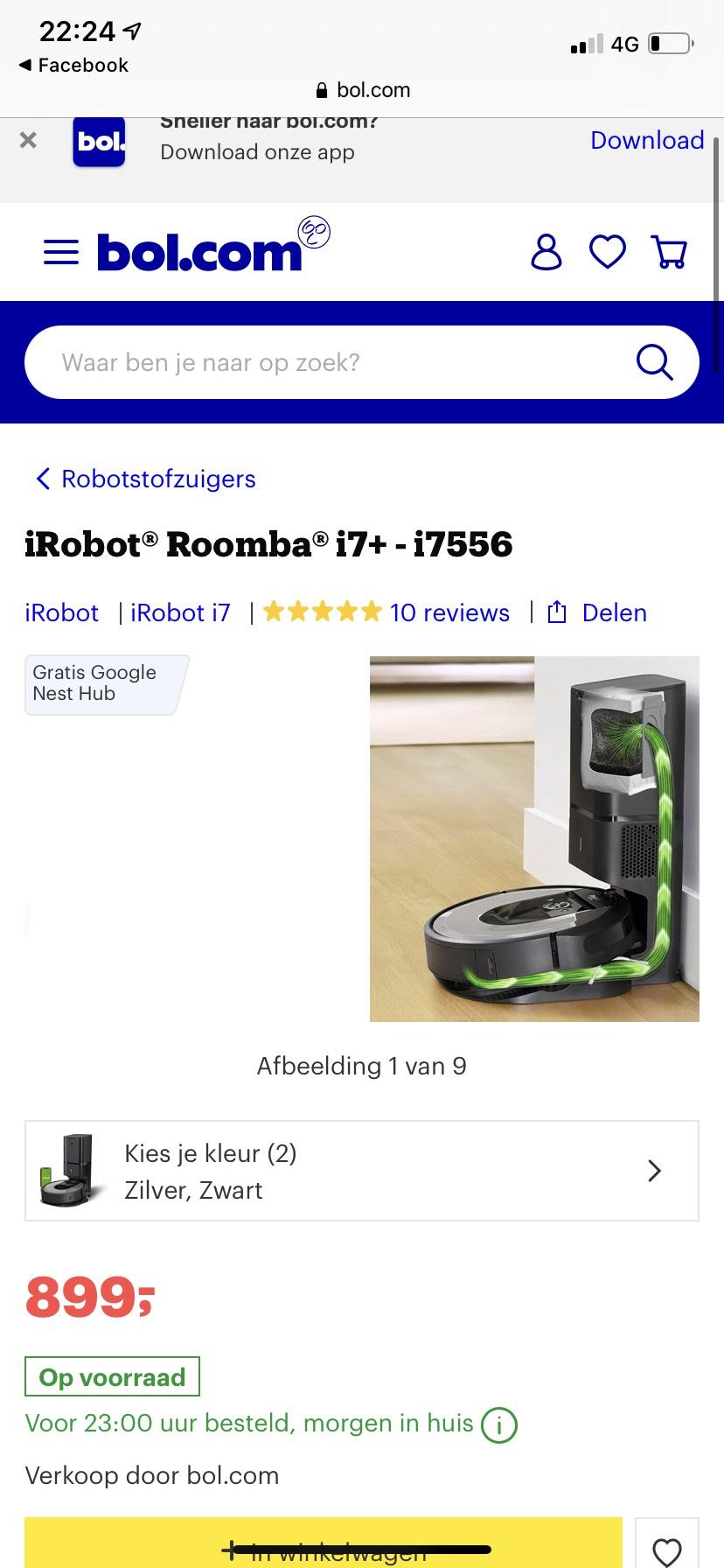 iRobot roomba i7+ i7556 met gratis Google nest hub