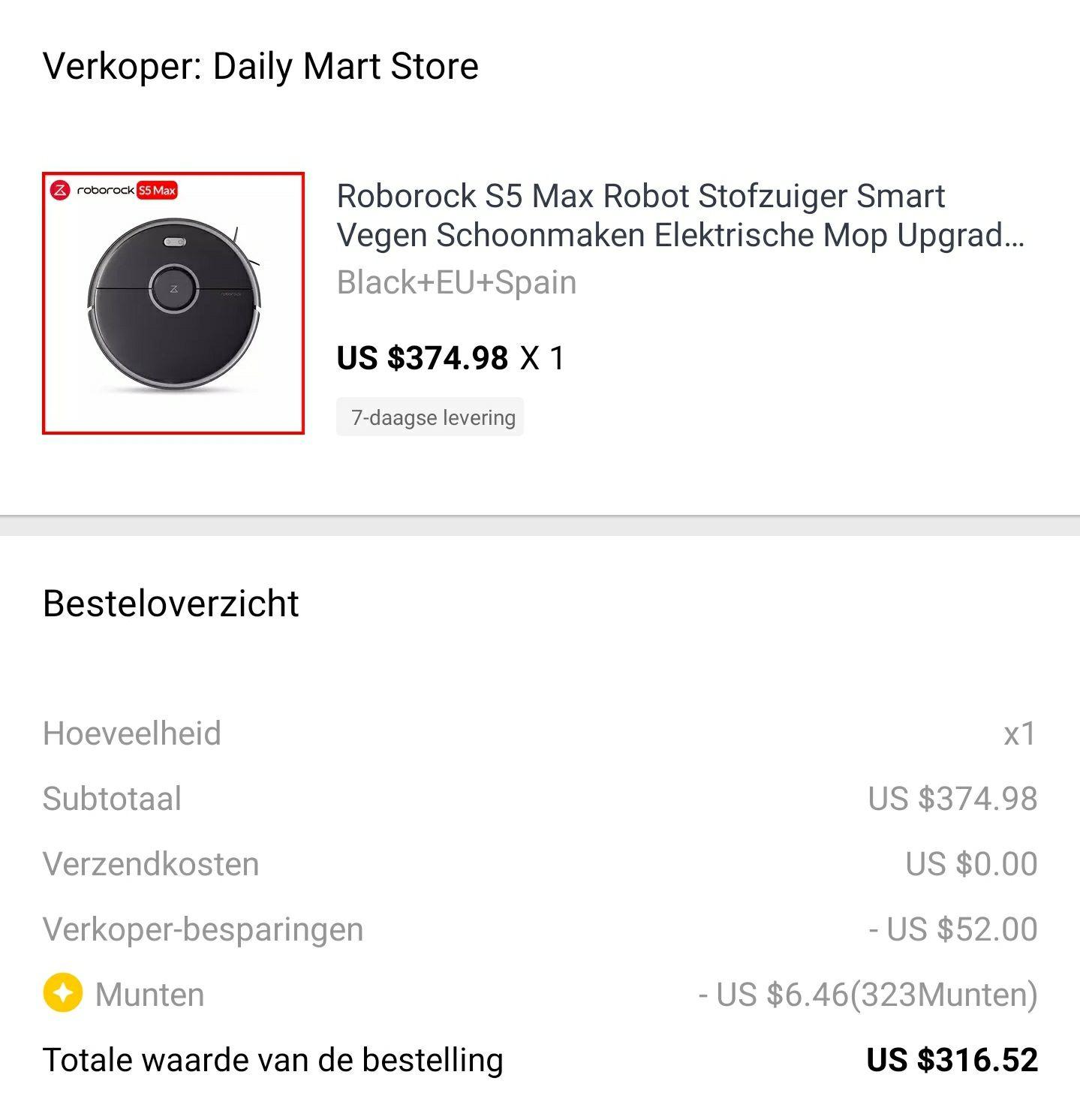 Roborock S5 max €271,90 @ Aliexpress