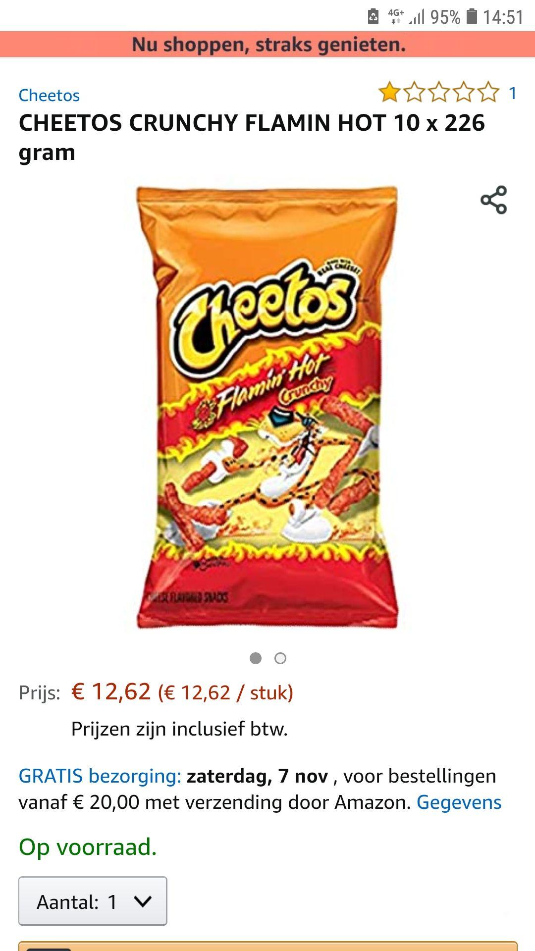 Flaming hot cheetos 10stuks van 226 gram