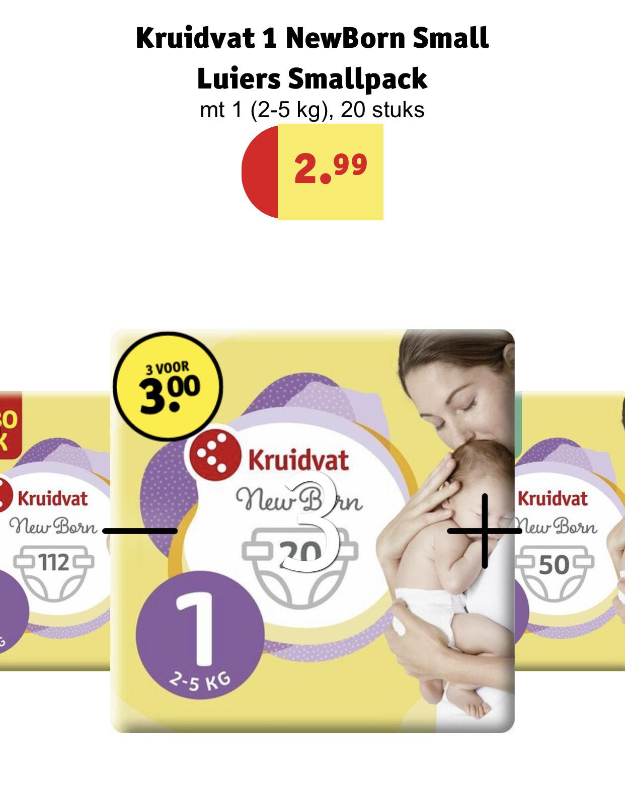 3 pakken Newborn kruidvat luiers voor €3,-