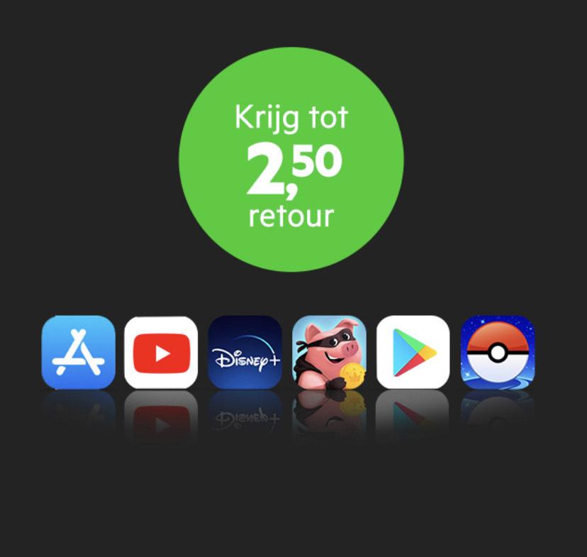 Krijg tot €2,50 retour bij aankoop app stores [KPN klanten]