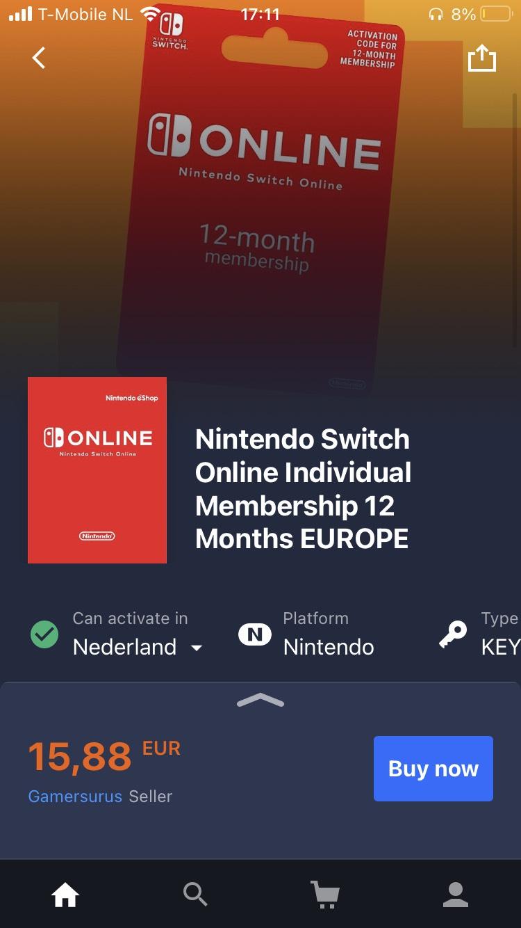 Nintendo switch online key 12 maanden