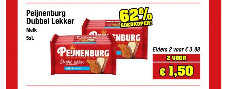 Peijnenburg Ontbijtkoek Dubbel Lekker Melk 2x 5 Repen @Budget Food
