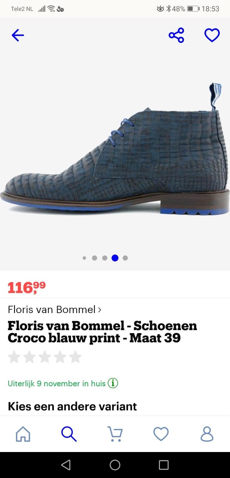 Floris van Bommel schoenen blauw croco