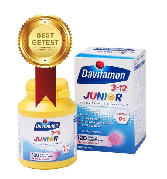 Davitamon Junior 3+ kauwvitamines - kinder multivitamine- framboos - 120 tabletten