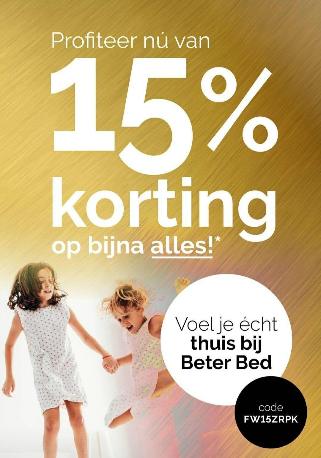 15 % korting op bijna alles bij Beter Bed