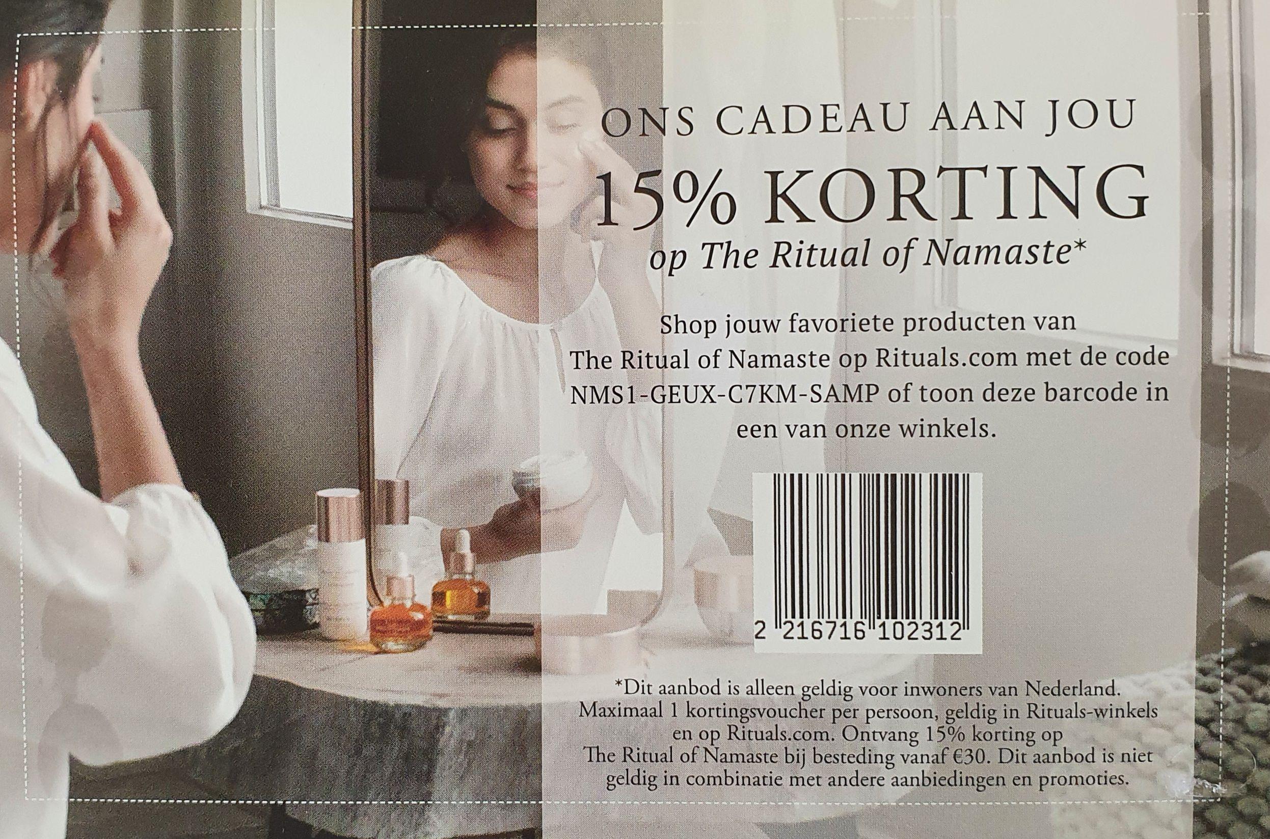 15% korting op Rituals of Namaste v.a. 30 euro