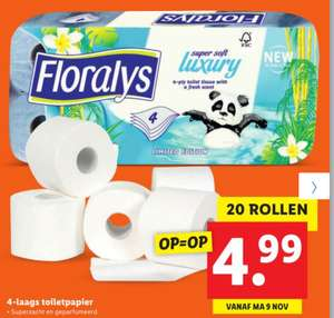 [Vanaf maandag] Floralys 4-laags (!) toiletpapier geparfumeerd - 20 rollen voor €4,99 @ Lidl