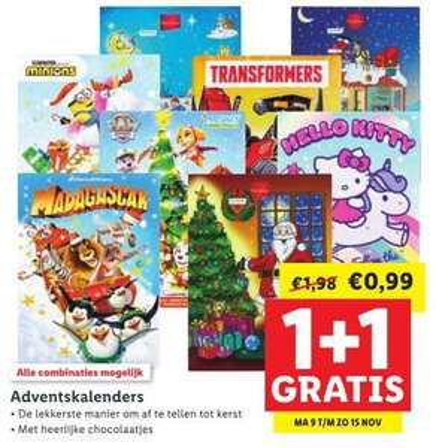 9 t/m 15 november: 1+1 op chocolade adventskalenders (2 voor €0,99) @ Lidl