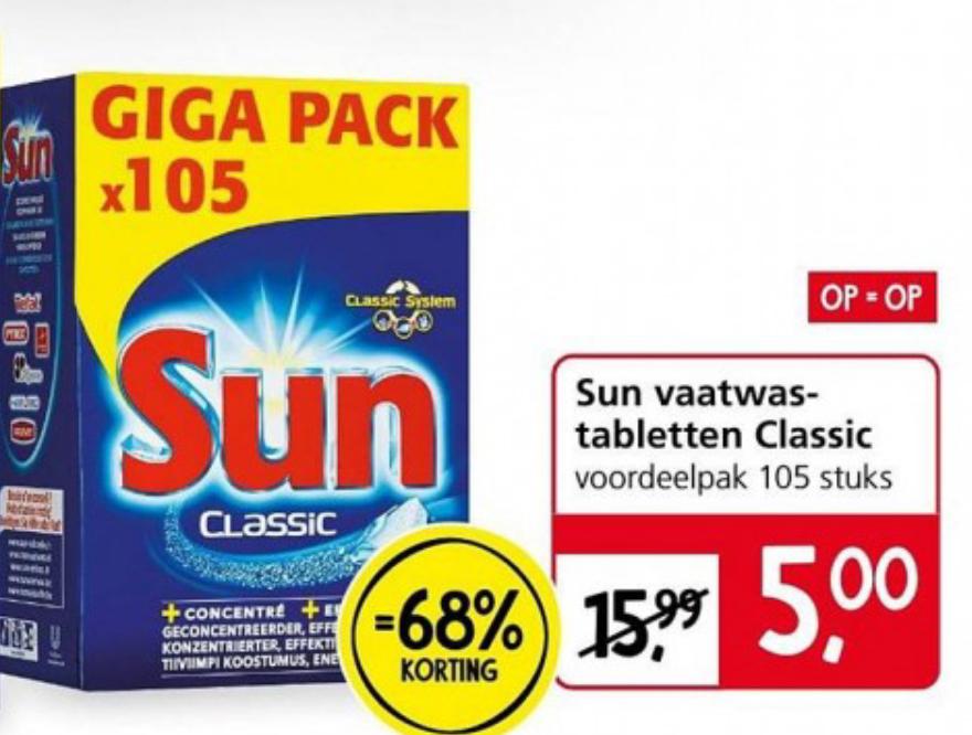 Sun vaatwastabletten Classic 105 stuks voor €5 Jan Linders