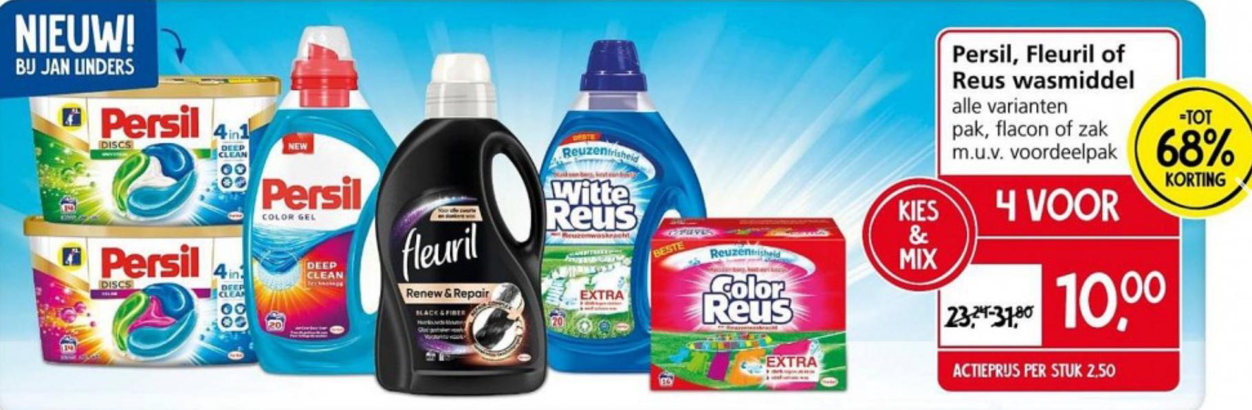 4 voor €10 - Persil, Fleuril of Reus wasmiddel alle varianten pak, flacon of zak m.u.v. voordeelpakken @ Jan Linders