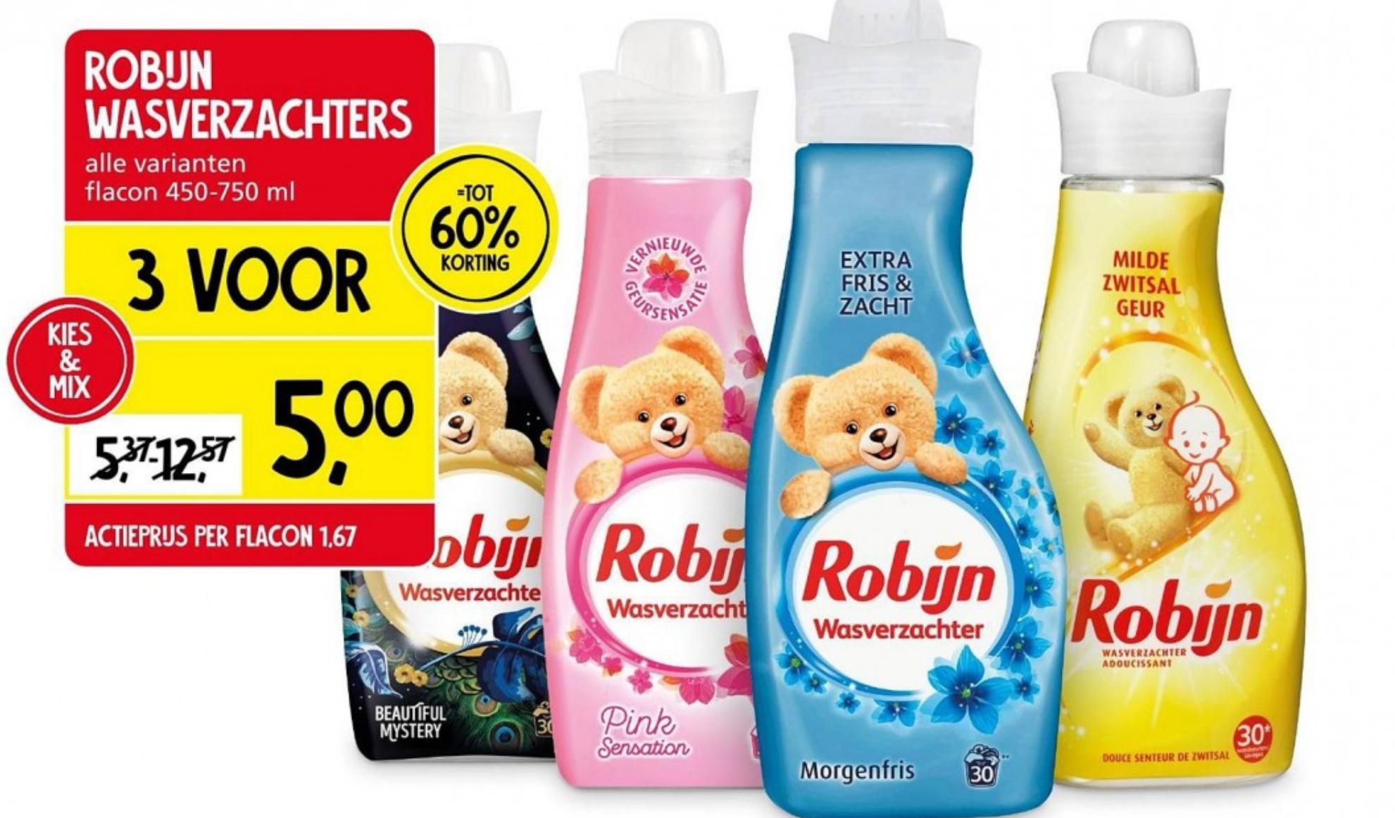 3 voor €5 - Robijn wasverzachters alle varianten flacon 450-750 ml @ Jan Linders