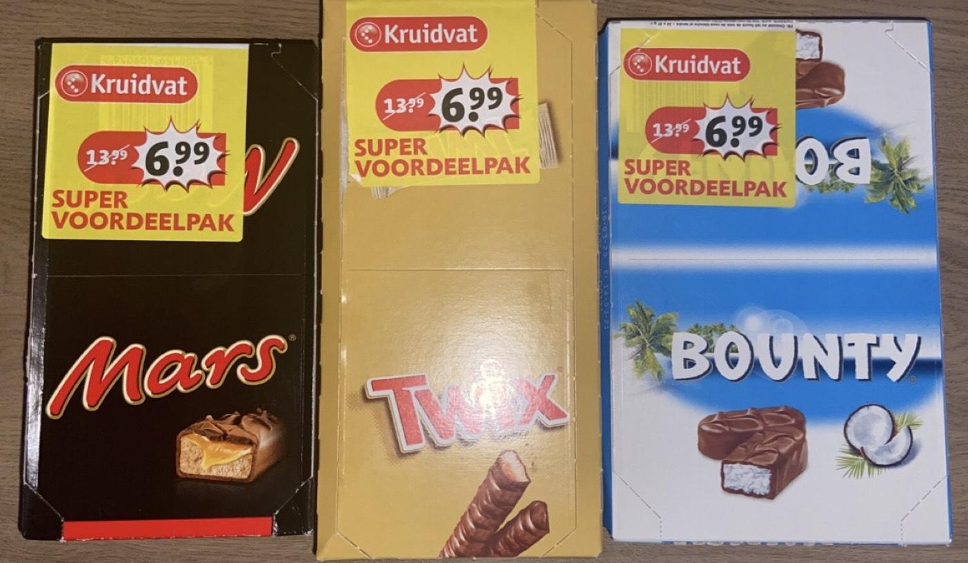 Mars , twix , snickers of bounty 24 of 25 stuks nu voor 3,50