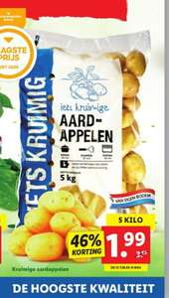 Lidl 5 kg iets kruimige aardappelen v.a do 12-11