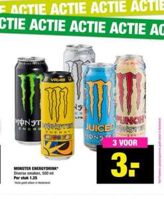 Monster Energy bij Big Bazar 3 voor 3