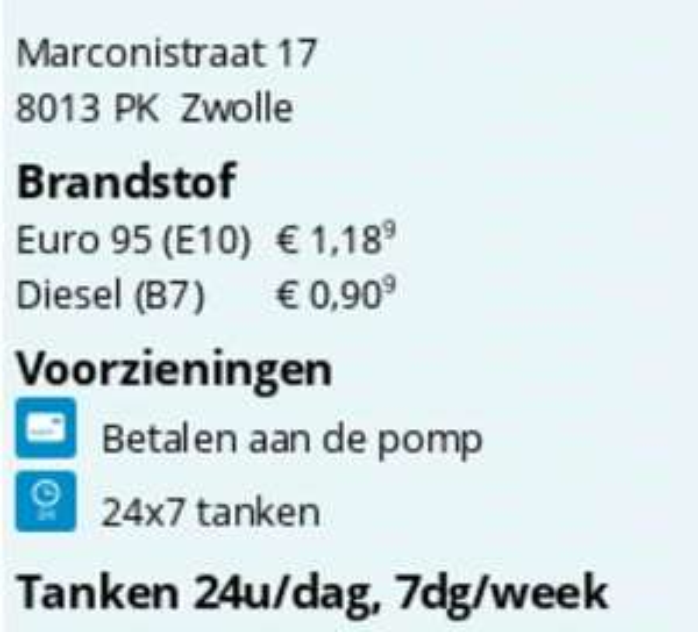 Tanken bij SuperTank Zwolle (Euro95/1.189 - Diesel/0,909)