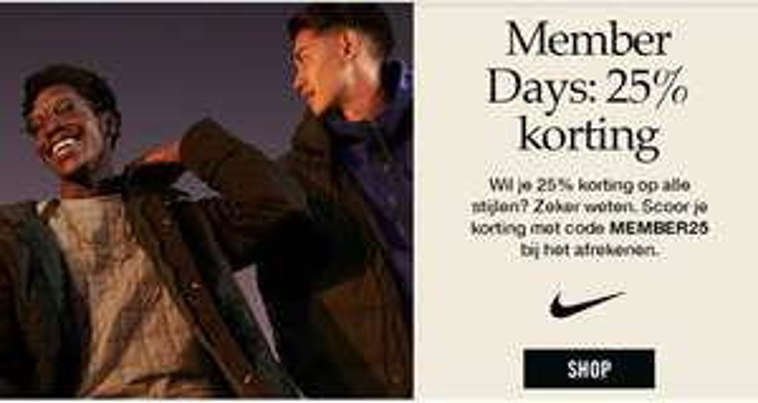 Members days: 25% korting op alles (incl. sale) @ Nike