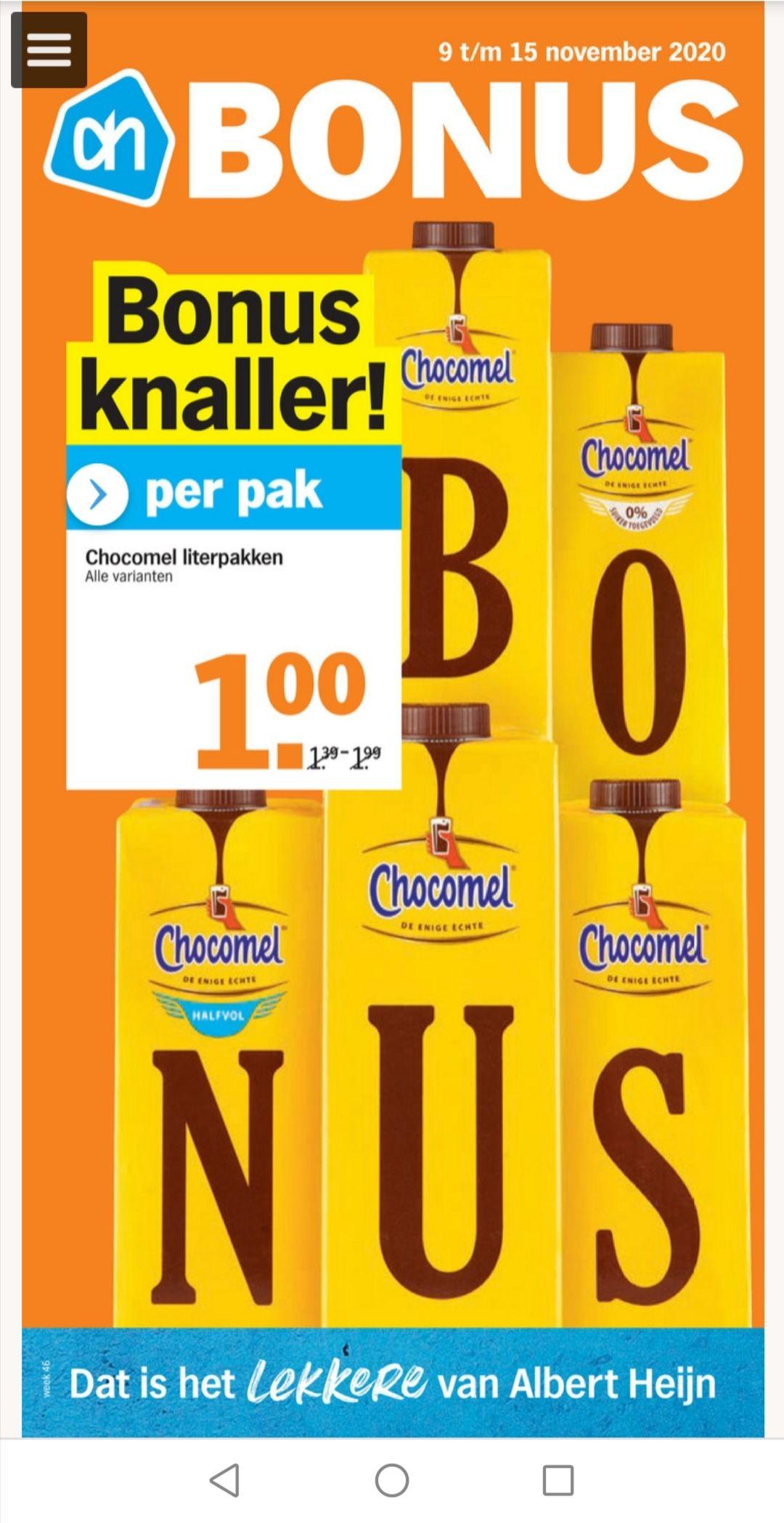 Chocomel literpakken 1 euro