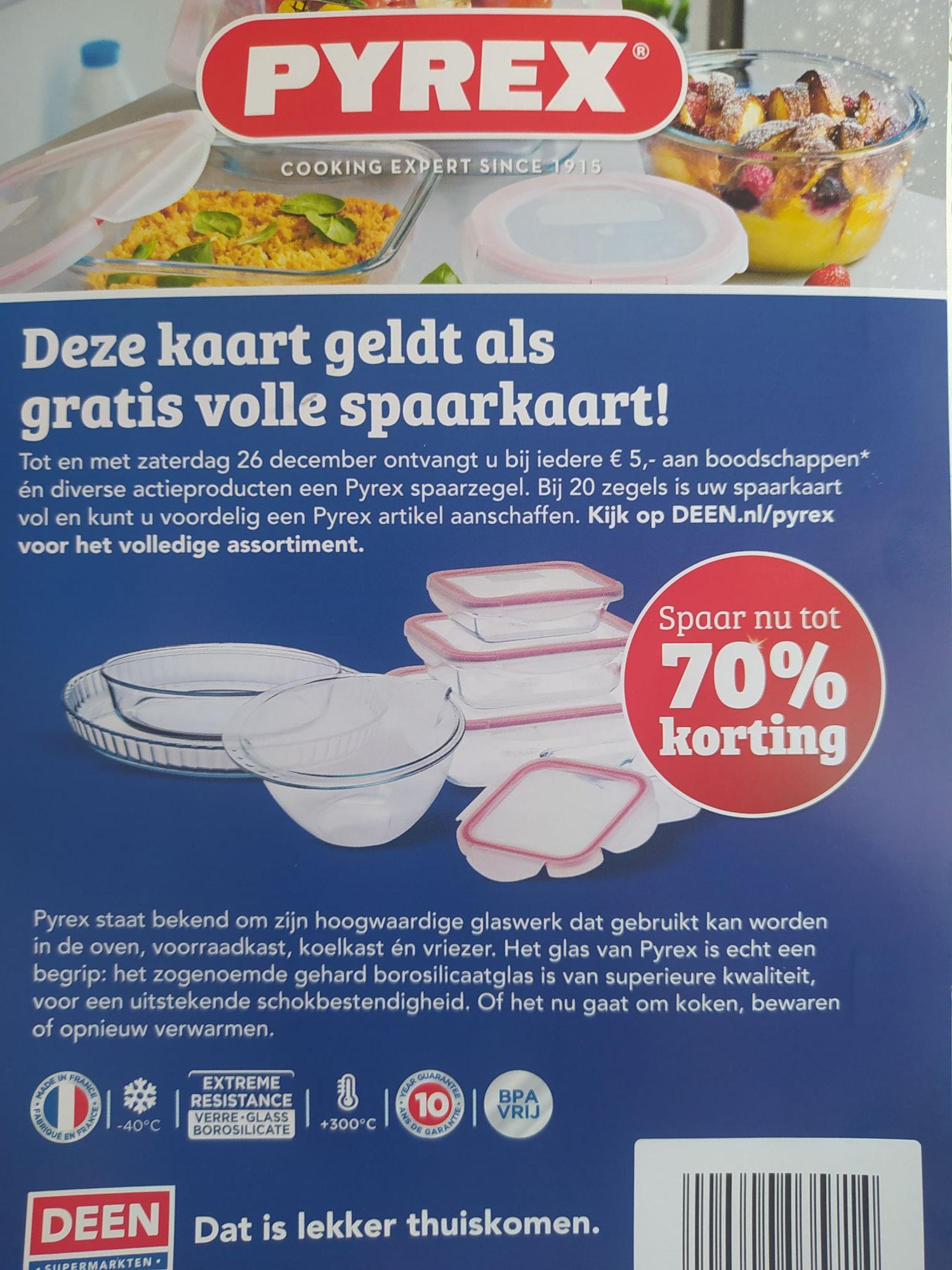 Gratis volle PYREX spaarkaart Deen.