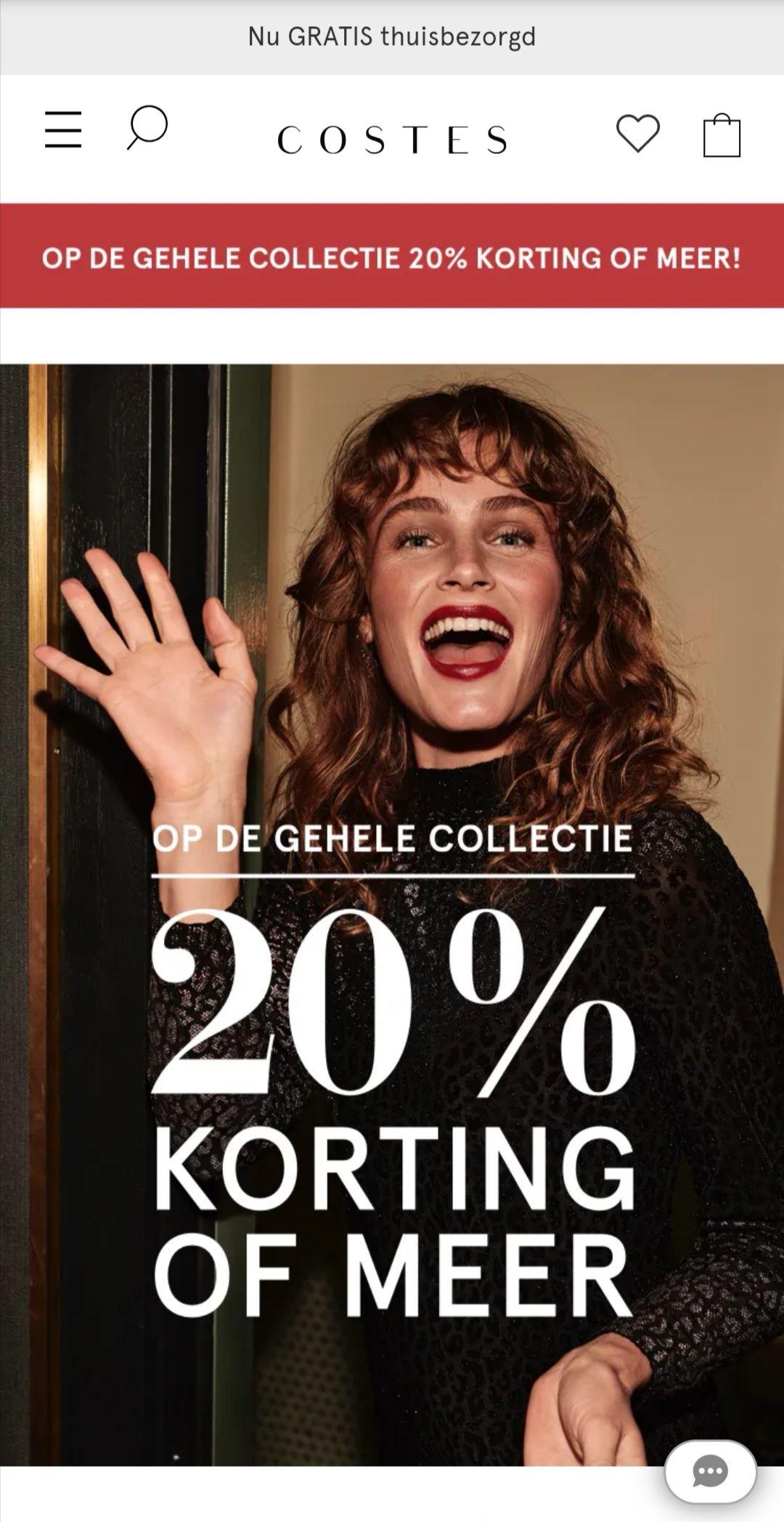 20% korting op gehele collectie van Costes
