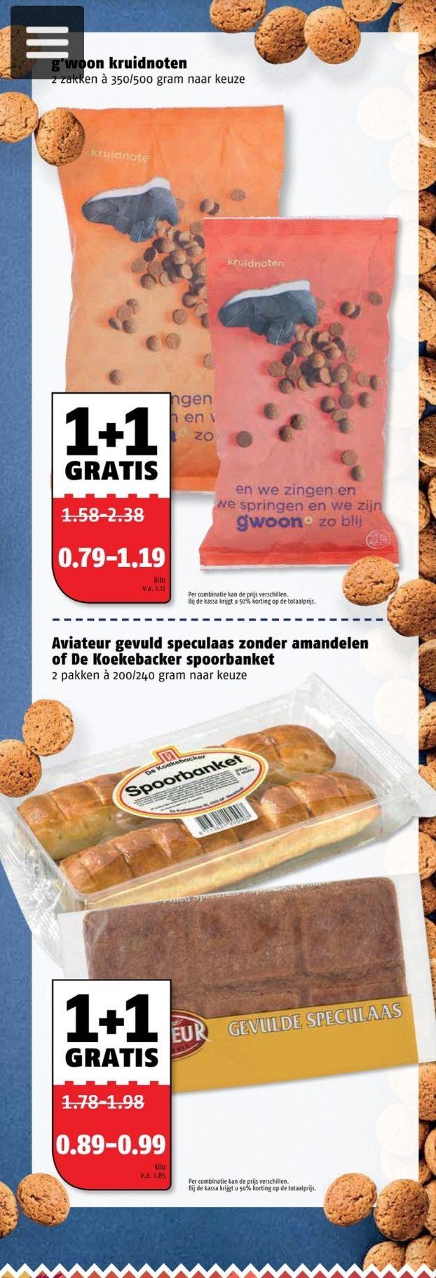 1 + 1 gratis op kruidnoten en speculaas bij poiesz