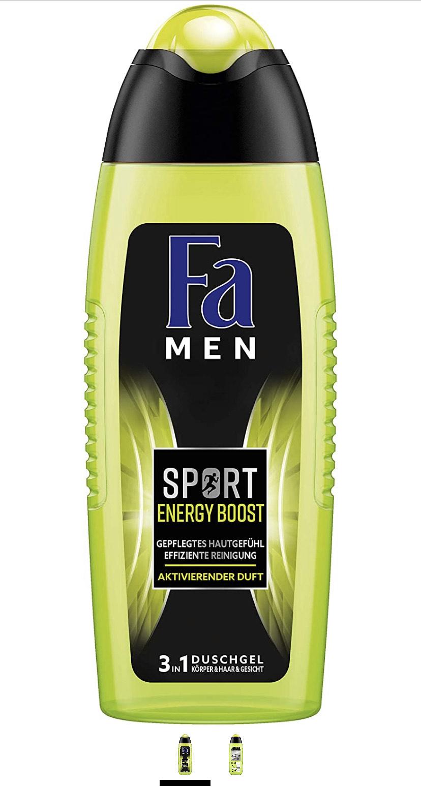 6x Fa Men Sport Energy Boost 3in1 douchegel (ook per stuk: €0,68!)