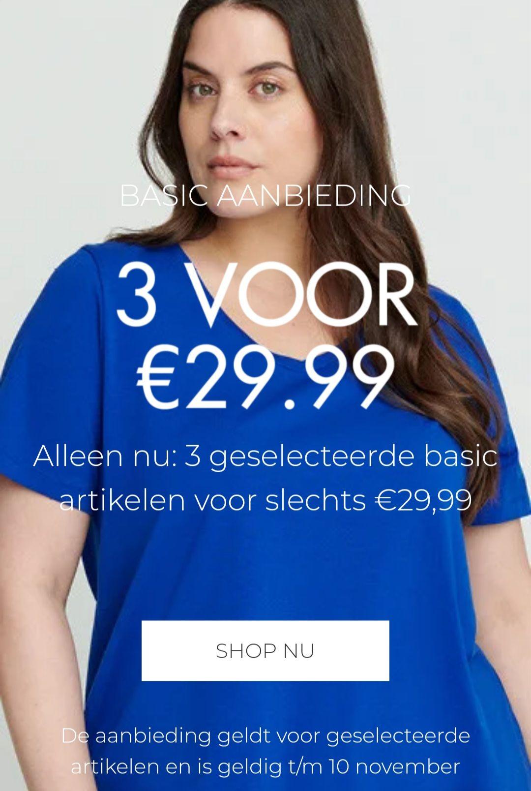 Zizzi, 3 shirt/tops voor €29,99