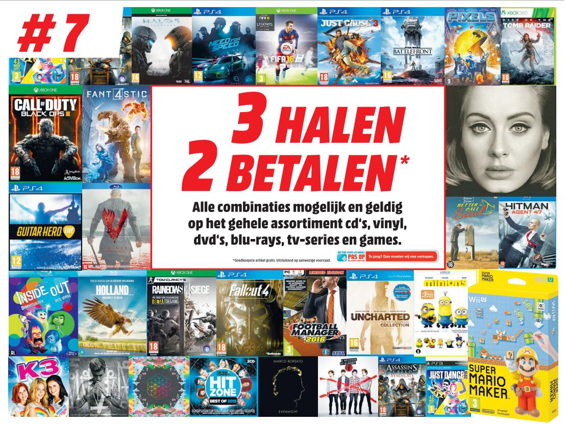 3 halen 2 betalen op games, blu-rays, dvd's, cd's en vinyl @ Media Markt (vanaf maandag)