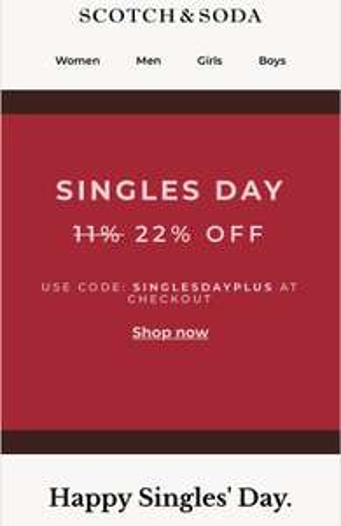 Singles day by Scotch & Soda, 22% korting