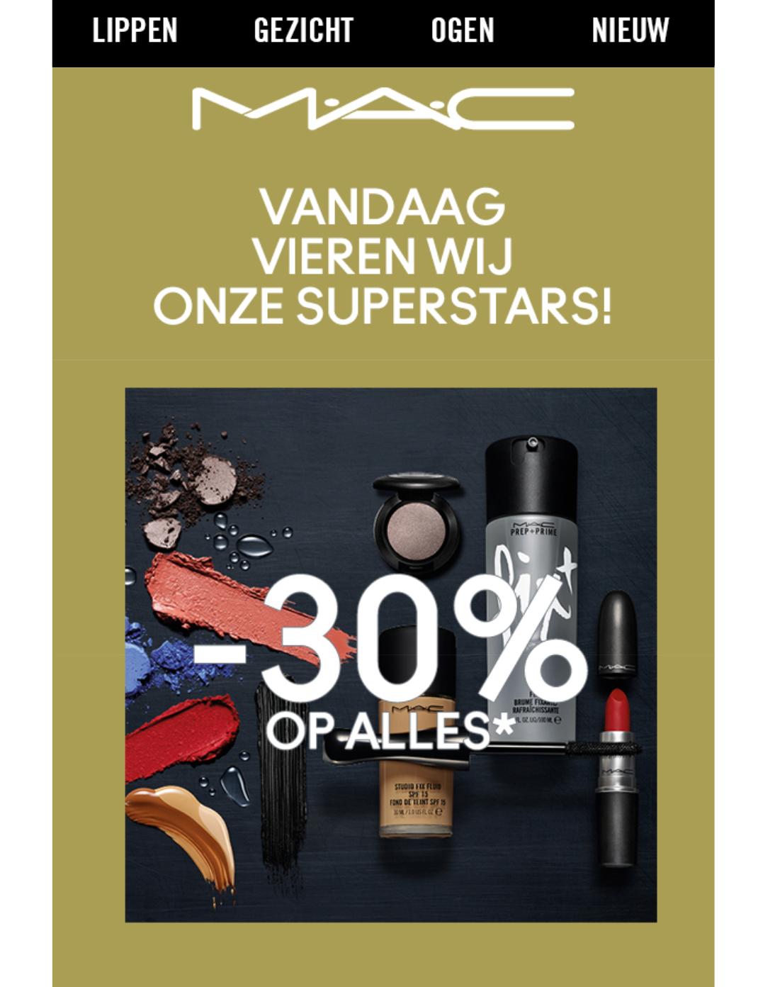 30% korting op de Superstar collectie @ MAC Cosmetics