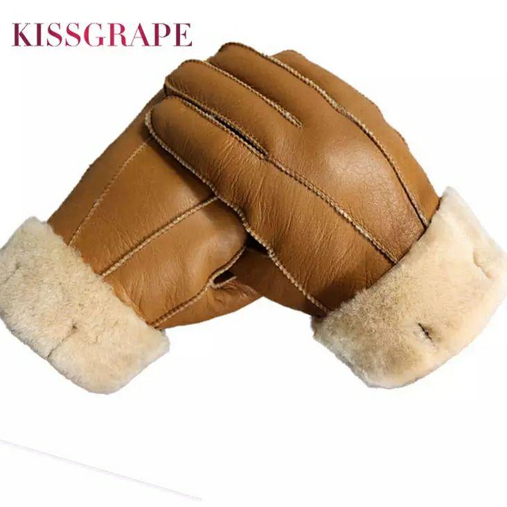 Lederen handshoenen met schapenvacht
