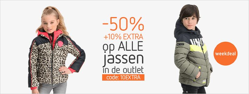 50% korting + extra korting op merk jassen (400+ keuzes) @ Kleertjes.com