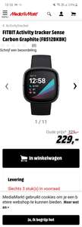Fitbit sense (FB512BKBK) €229 @MediaMarkt België