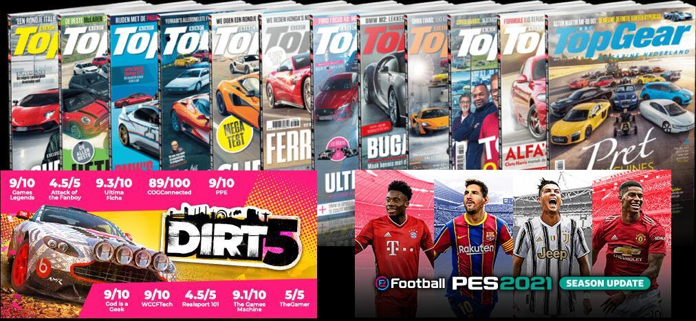 Halfjaar TopGear Magazine met Dirt 5 en PES 2021 voor PS4 of Xbox One €49