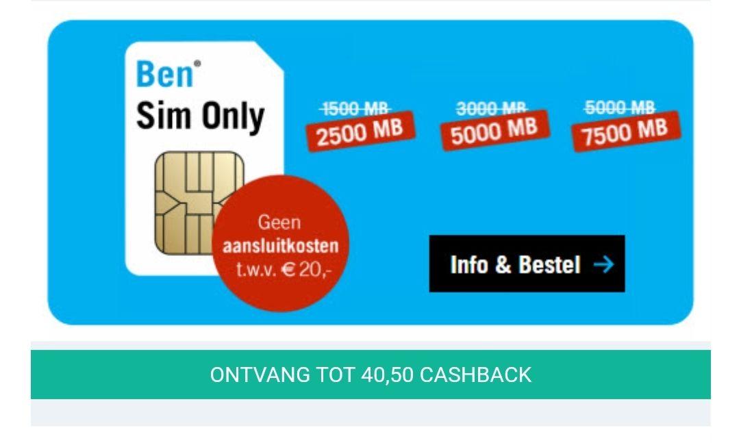 Gratis geld: € 22,50 cashback op Ben simonly / maandelijks opzegbaar / géén aansluitkosten