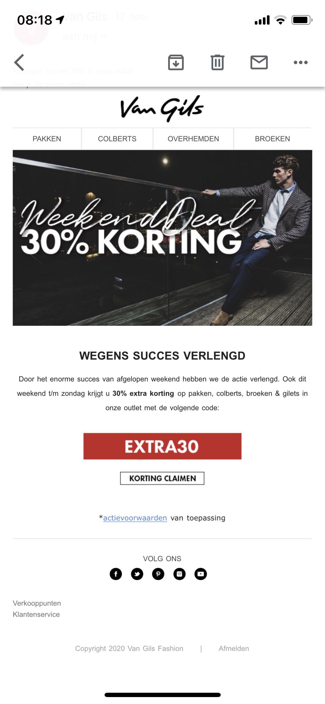Van Gils 30% extra korting in de online outlet