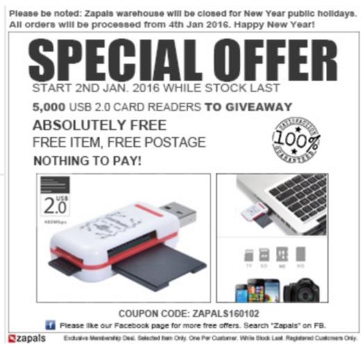 Gratis USB 2.0 card reader @ Zapals
